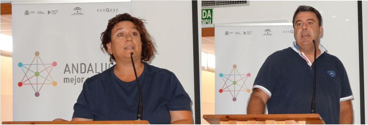 Intervenciones de Samar Fayad, Posidonia Aguadulce (izquierda) y Moisés Palmero, Ecocampus Almería (derecha)
