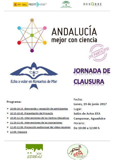 Cartel de la Jornada de Clausura del proyecto 'Echa a volar en Roquetas de Mar'